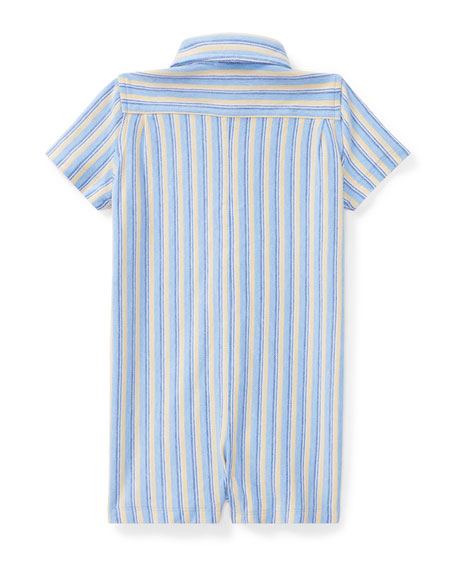 Oxford Mesh Striped Shortall, Blue, Size 3-18 Months