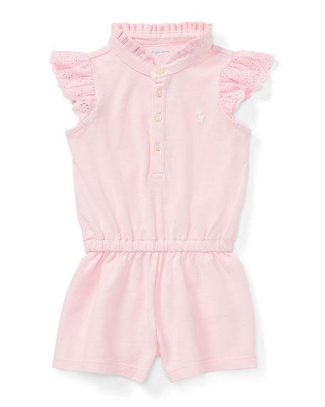 Mesh Flutter-Sleeves Romper, Pink, Size 9-24 Months