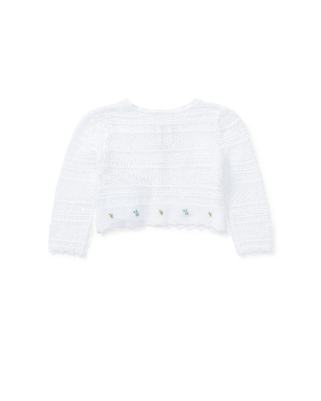 Cotton Pointelle Cardigan, Size 6-24 Months