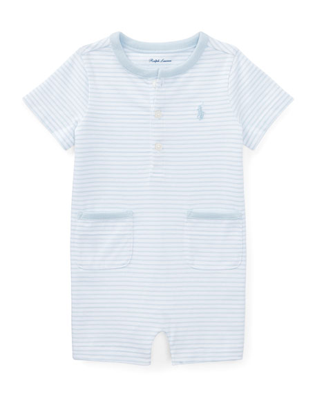 Striped Jersey Cotton Shortall, Blue, Size 3-18 Months