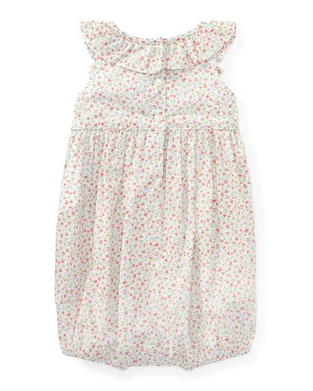 Batiste Floral Ruffle Bubble Playsuit, Pink, Size 3-18 Months