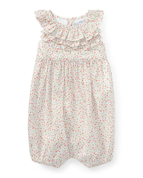 Ralph Lauren Childrenswear Batiste Floral Ruffle Bubble Playsuit,