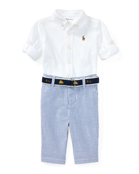 Ralph Lauren Childrenswear Oxford Mesh Button-Down Shirt w/
