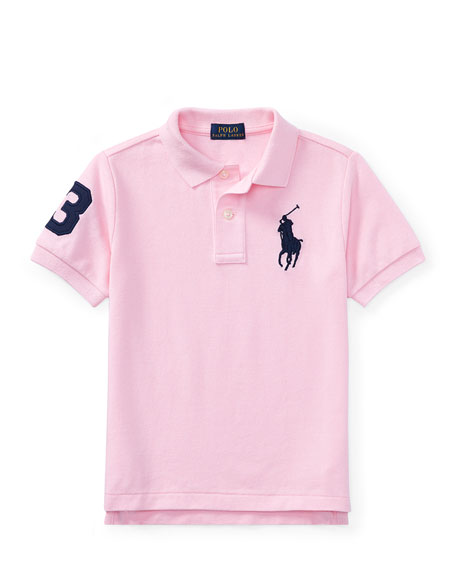 Mesh Knit Polo Shirt w/ Logo Embroidery, Pink, Size 5-7