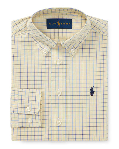 Poplin Tattersall Collared Dress Shirt, Size 4-7