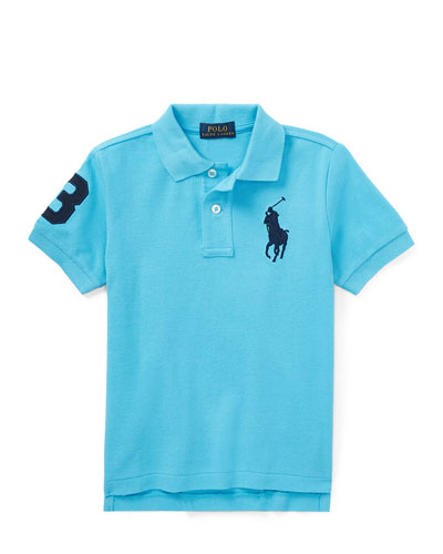 Mesh Knit Polo Shirt w/ Logo Embroidery, Blue, Size 5-7