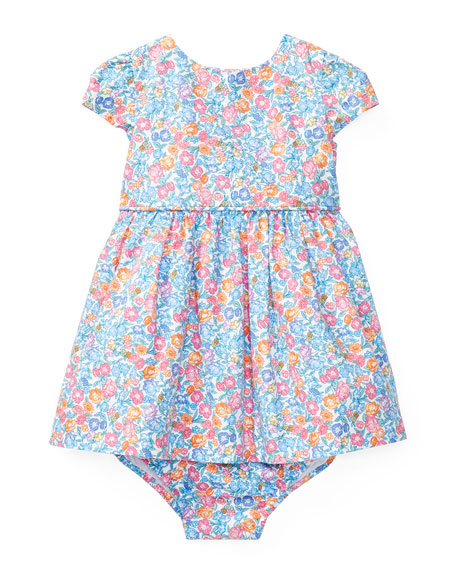 Poplin Fit-and-Flare Floral Dress w/ Bloomers, Size 9-24 Months