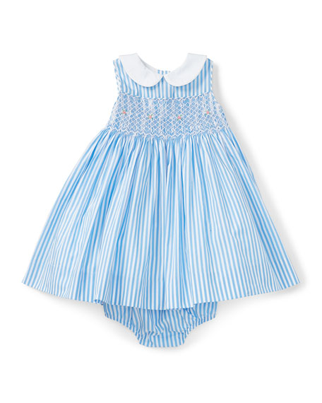 Smock Poplin Bengal-Stripe Dress w/ Bloomers, Blue, Size 6-24 Months