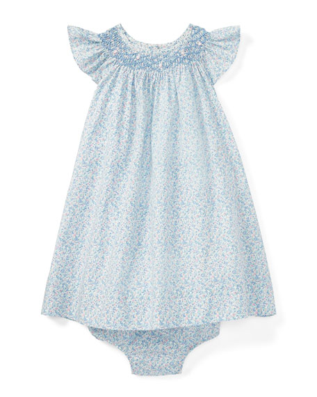Ralph Lauren Childrenswear Poplin Floral Smock Dress w/