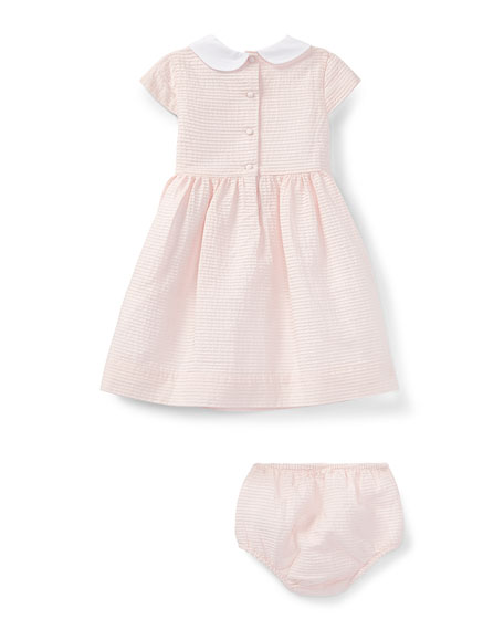 Cotton Pintuck Dress w/ Bloomers, Pink, Size 9-24 Months