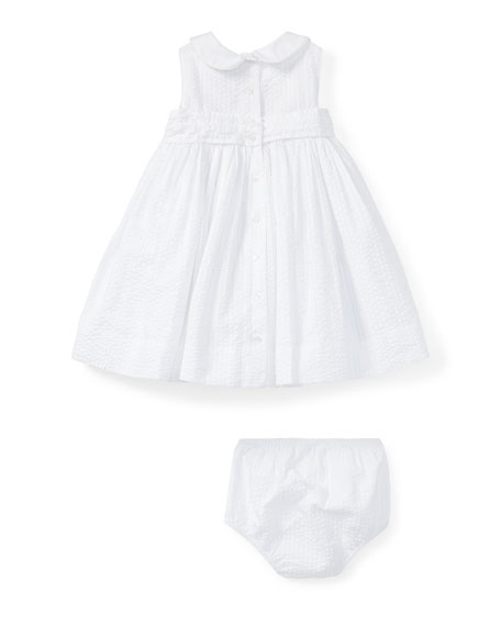 Smock Seersucker Dress w/ Bloomers, White, Size 9-24 Months