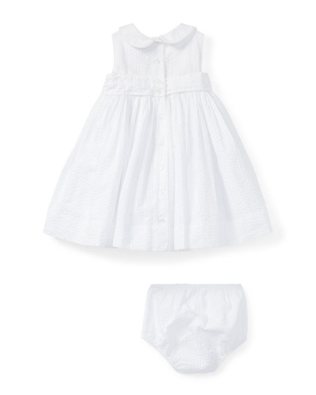 Smock Seersucker Dress w/ Bloomers, White, Size 9-24 Months