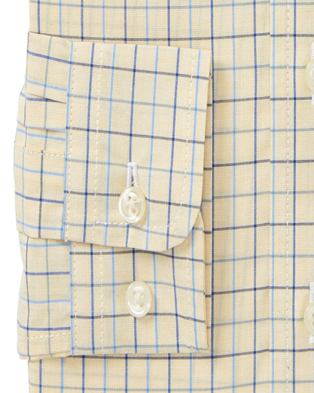 Poplin Tattersall Collared Dress Shirt, Size 2-3