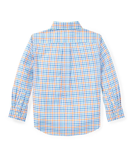 Oxford Performance Gingham Dress Shirt, White, Size 2-4