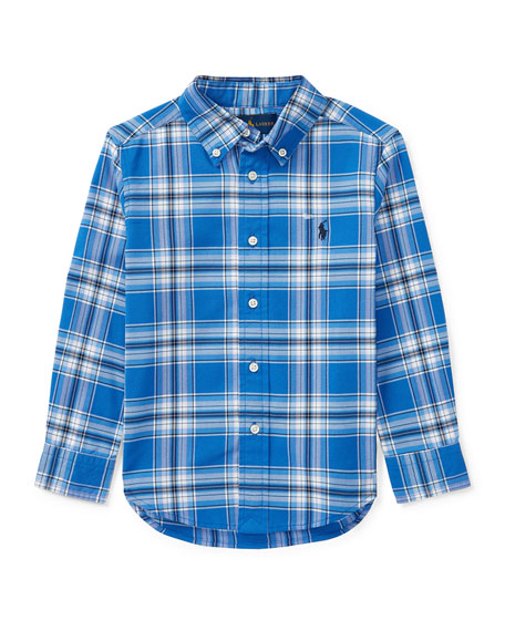 Ralph Lauren Childrenswear Oxford Performance Plaid Dress Shirt,