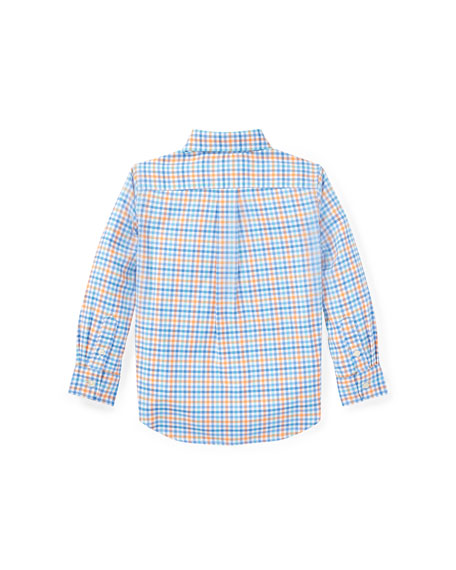 Oxford Performance Gingham Dress Shirt, White, Size 5-7