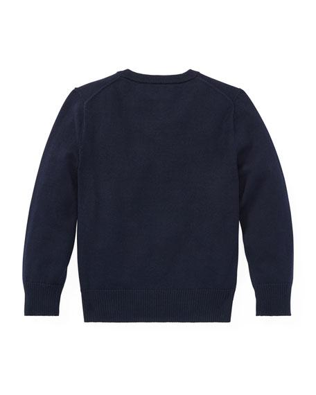 Long-Sleeve V-Neck Knit Sweater, Blue, Size 5-7