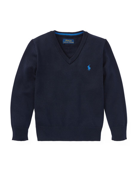 Ralph Lauren Childrenswear Long-Sleeve V-Neck Knit Sweater, Blue,