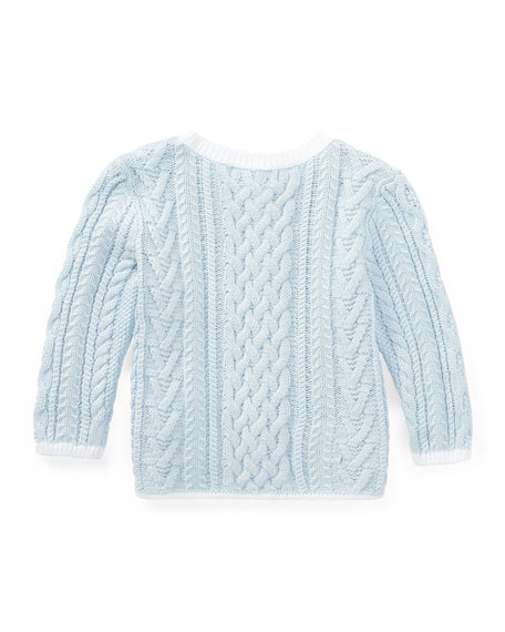 Soft Pearl Aran-Cable Knit Cardigan, Size 6-24 Months