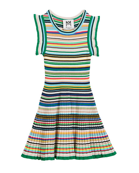Micro-Stripe Flare Dress, Size 4-7