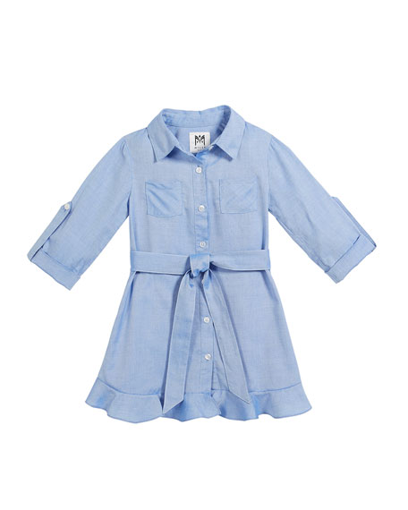 Milly Minis Oxford Shirting Ruffle Dress, Size 4-7