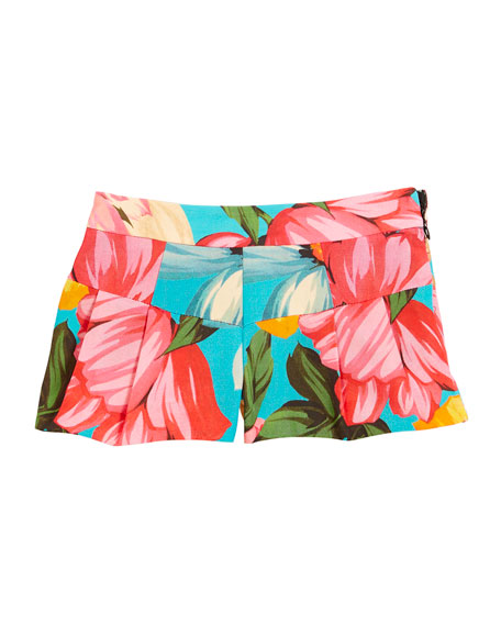 Pleated Floral Shorts, Size 8-14
