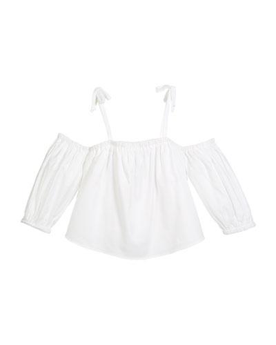 Oxford Cold-Shoulder Cotton Blouse, Size 8-14