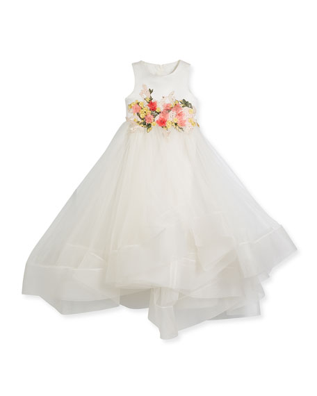 Little Miss Aoki Tea-Length Flower Tulle Dress, Size