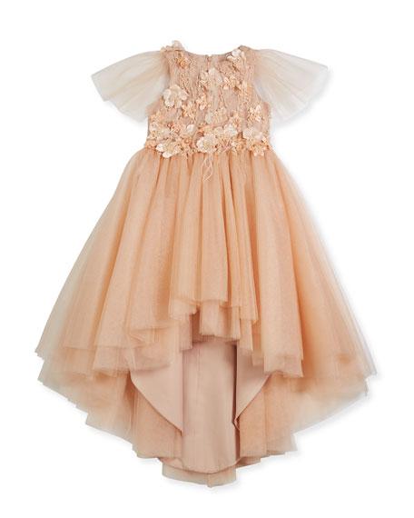 Little Miss Aoki Flower High-Low Tulle Dress, Size