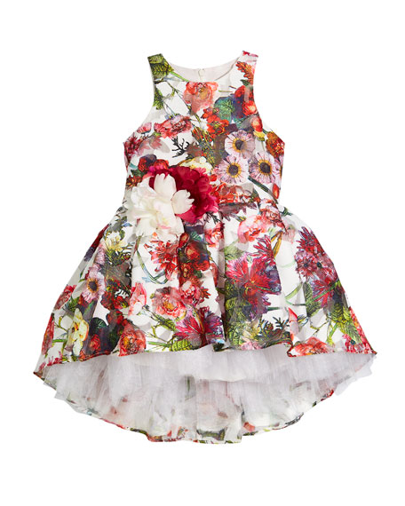 Little Miss Aoki Floral Sleeveless Dress w/ Rosettes,