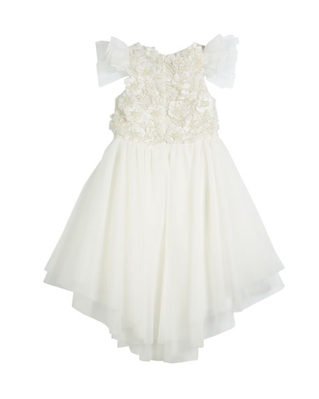 Flower High-Low Tulle Dress, Size 4-6