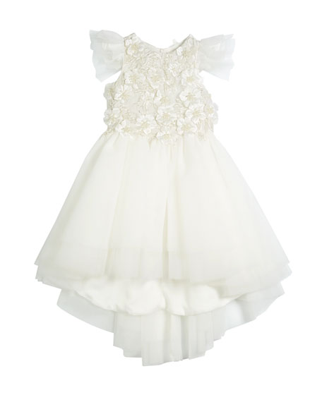 Little Miss Aoki Flower High-Low Tulle Dress, Size