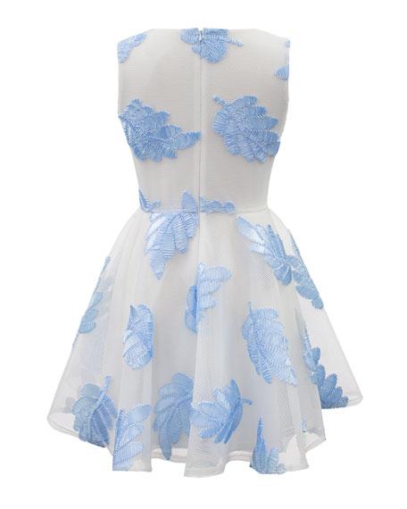 Sleeveless Leaf Applique Mesh-Overlay Dress, Size 8-16