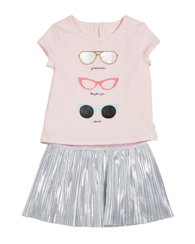 sunglasses tee w/ metallic skirt, size 12-24 months