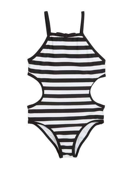striped cutout-sides one-piece swimsuit, size 2-6x