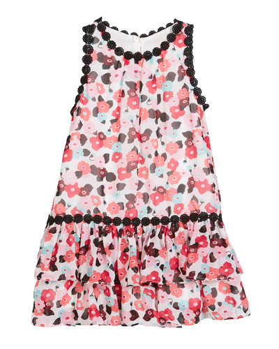 blooming floral crochet-trim dress, size 2-6x