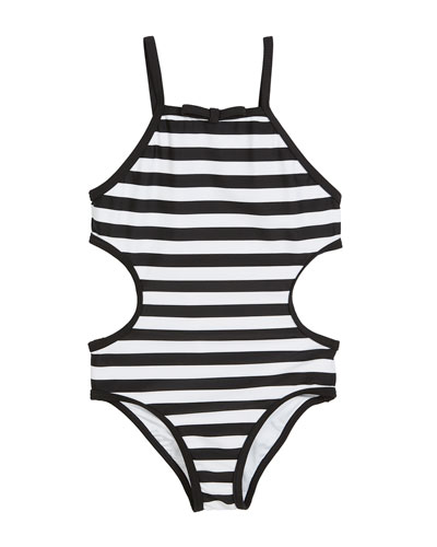 striped cutout-sides one-piece swimsuit, size 7-14