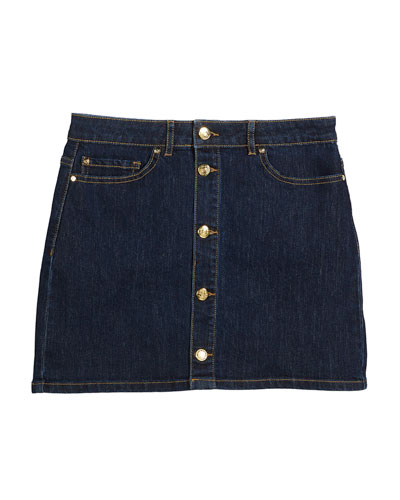 button-front denim mini skirt, size 7-14