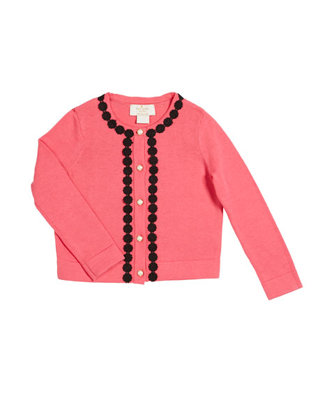 lace-trim knit cardigan, size 2-6x