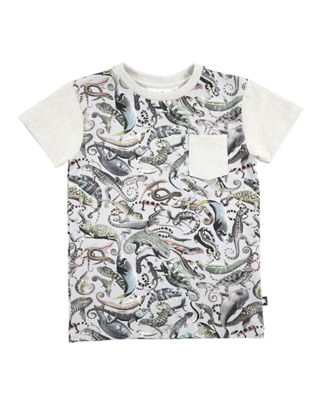 Molo Roman Entangled Mixed-Animal Print Pocket Tee, Size