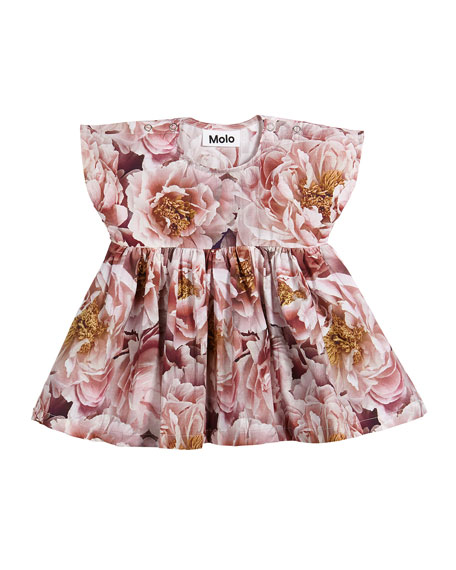 Channi Peonies Short-Sleeve Dress, Size 6-24 Months