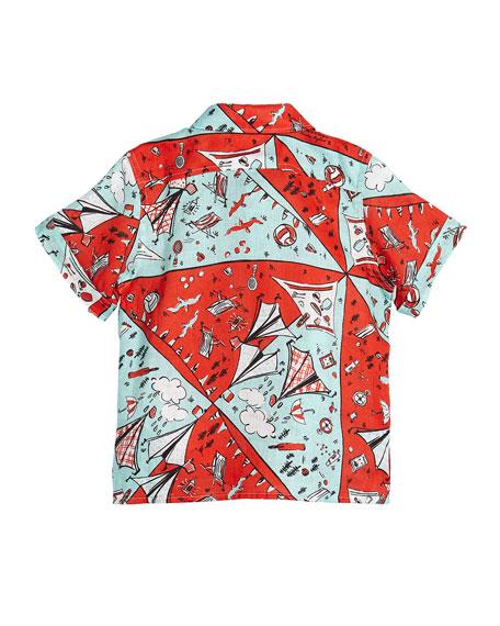 Sammi Picnic-Print Short-Sleeve Shirt, Size 12M-3