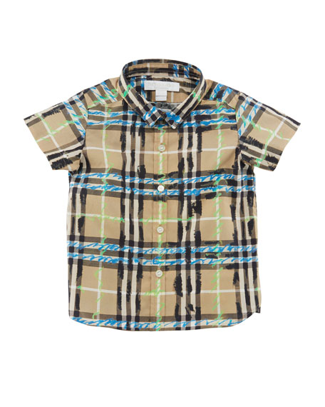 Clarkey Scribble Check Collared Shirt, Size 6M-3