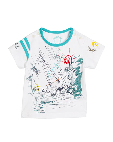 Burberry Short-Sleeve Sailing Print T-Shirt, Size 6M-3
