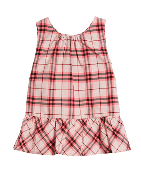 Burberry Carma Apron-Back Check Blouse, Size 4-14