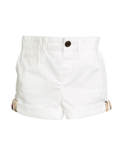 Tina Cotton Shorts, White, Size 12M-3Y