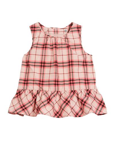 Carma Apron-Back Check Blouse, Size 12M-3