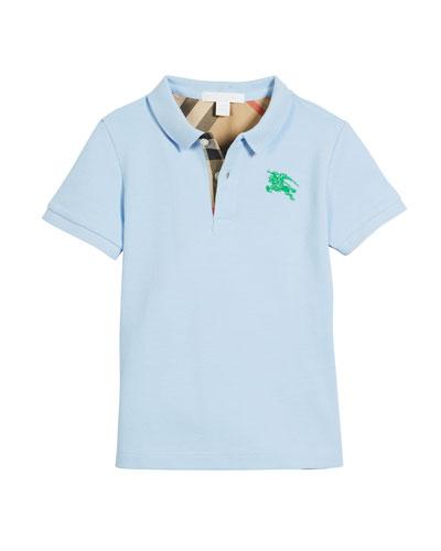 Short-Sleeve Polo Shirt, Blue, Size 4-14