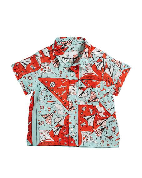 Sammi Picnic-Print Short-Sleeve Shirt, Size 4-14