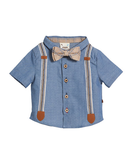 Caddie Mock-Suspenders Shirt w/ Plaid Shorts & Bow Tie, Size 3-24 Months